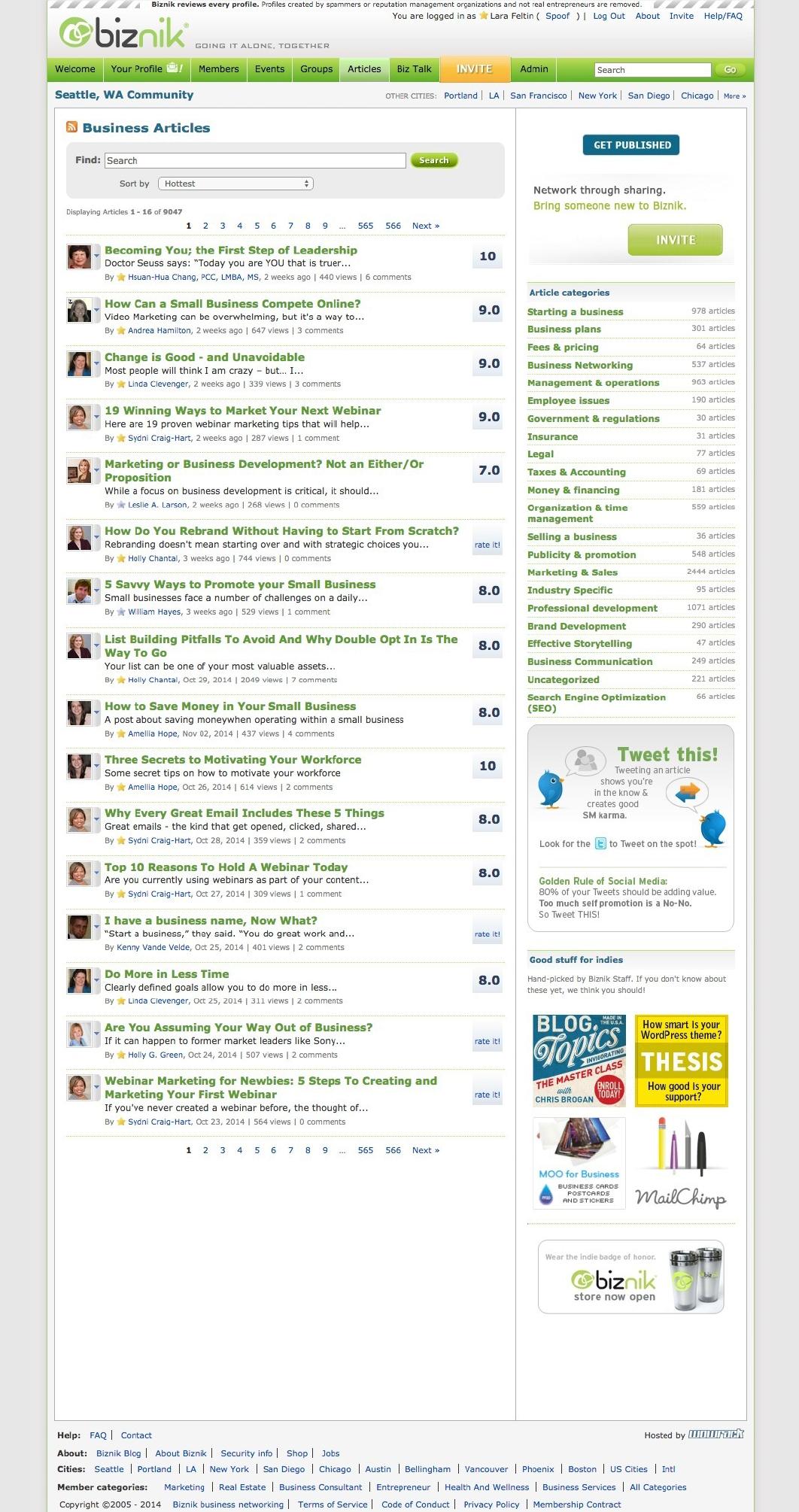 Biznik Articles page