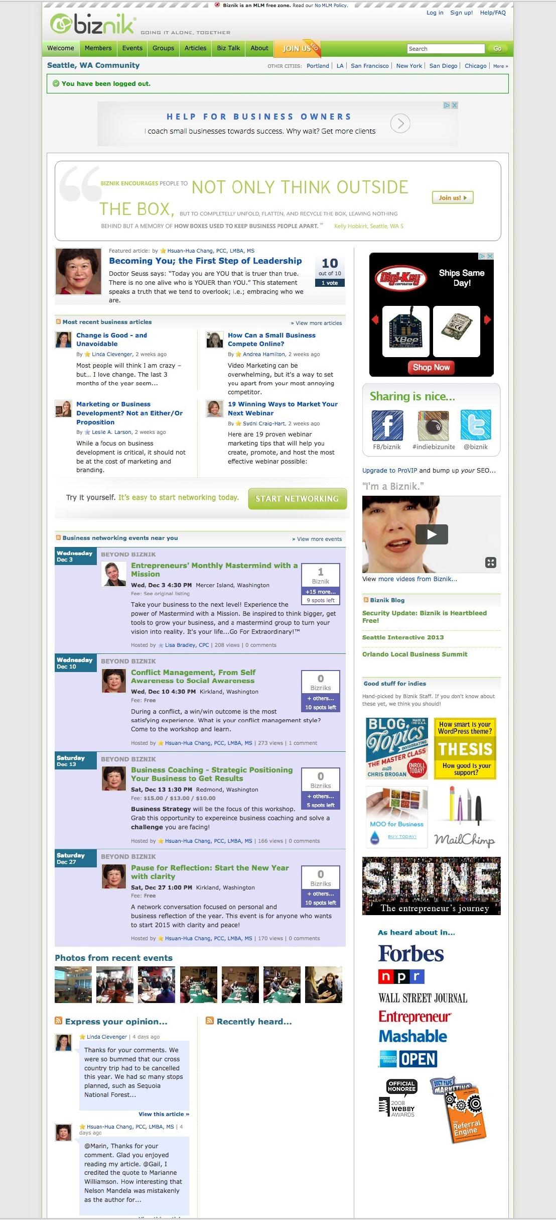 Biznik Home page