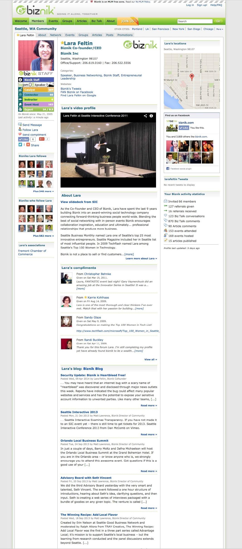Biznik Profile page